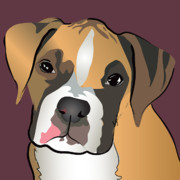 Boxer Puppy Digital Art Metal Prints - Boxer Puppy Pet Portrait  Metal Print by Robyn Saunders