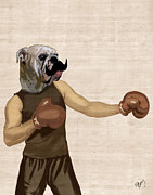 Wall Decor Prints Digital Art - Boxing Bulldog Portrait by Kelly McLaughlan