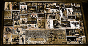 Jack Dempsey Framed Prints - Boxing collage Virginian Hotel Saloon Medicine Bow Wyoming 1971-2008 sepia toned Framed Print by David Lee Guss
