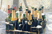 Champagne Mixed Media Metal Prints - Boxing Day Empties Metal Print by Lincoln Seligman