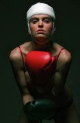Boxing Photo Framed Prints - boxing Girl 2 Framed Print by Evgeniy Lankin