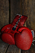 Boxer Prints - Boxing Gloves Worn Out Print by Paul Ward