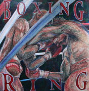 Boxing Drawings - Boxing Ring by Kate Fortin