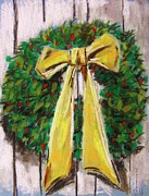 Barn Door Pastels Posters - Boxwood Berries and Gold- Christmas Poster by John  Williams