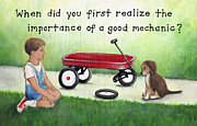 Overalls Painting Posters - Boy and Dog with Broken Red Wagon Poster by Theresa McFarlane Stites