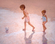 J Reifsnyder Prints - Boy and Girl w/Ball Print by J Reifsnyder