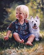 Scottie Portrait Paintings - Boy and his dog by Janet McGrath