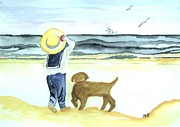 Sailor Hat Posters - Boy and His Dog Poster by Marsha Heiken