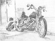 Lifestyle Drawings Prints - Boy And Motorcycle Print by Masha Batkova