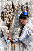 Jerusalem Photos - Boy and Torah - Jerusalem by Barnett Comens
