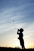 Boy Blowing Bubbles Print by Tim Gainey