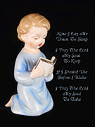 I Die Posters - Boy Childs Bedtime Prayer Poster by Kathy Clark