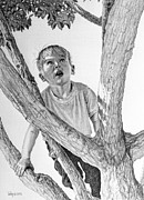 Climbing Drawings Posters - Boy Climbing Poster by Robert Tracy