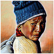 Crying Boy Paintings - Boy Crying by John Lautermilch