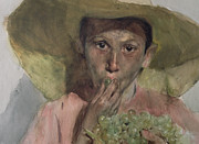 Straw Paintings - Boy Eating Grapes by Joaquin Sorolla y Bastida