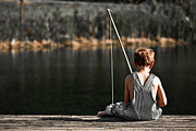 Book Cover Art - Boy fishing in overalls from a dock on a lake or pond by Jt PhotoDesign