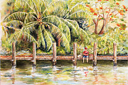 Boy Fishing With Dog Print by Janis Lee Colon