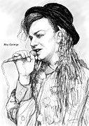 Boy Drawings Posters - Boy george art drawing sketch portrait Poster by Kim Wang