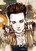 1980s Mixed Media - Boy George long stylised drawing art poster by Kim Wang