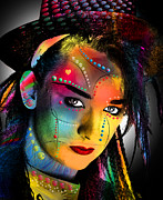 Figures Digital Art Posters - Boy George  Poster by Mark Ashkenazi
