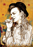 1980s Mixed Media Metal Prints - Boy George - stylised drawing art poster Metal Print by Kim Wang
