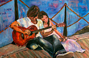 Acoustic Guitar Painting Originals - Boy Girl and a Guitar by Nicole Roggeman