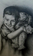 Pencil On Canvas Posters - Boy Hugging Teddy Poster by Lisa Marie Szkolnik