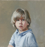 Little Boy Framed Prints - Boy in Blue Framed Print by Chris  Saper
