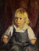 Overalls Posters - Boy In Blue Overalls Poster by Robert Henri