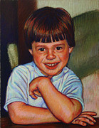 Tradition Pastels Framed Prints - Boy in Blue Shirt Framed Print by Kenneth Cobb
