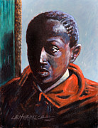 African-american Painting Originals - Boy in Doorway by John Lautermilch