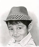 Photo-realism Drawings - Boy In Fedora- Vincent by Sarah Batalka