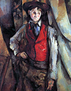 John Peter Framed Prints - Boy in Red Waistcoat by Cezanne Framed Print by John Peter