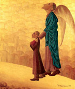 American Painters Framed Prints - Boy Leading the Blind Angel Framed Print by Israel Tsvaygenbaum