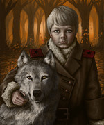 Wolves Digital Art Metal Prints - Boy Metal Print by Mark Zelmer