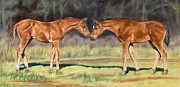 Foals Prints - Boy Meets Girl Print by Linda Shantz