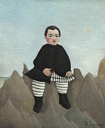 Naive Framed Prints - Boy on the Rocks Framed Print by Henri J F Rousseau