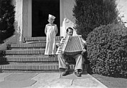 Front Steps Prints - Boy Playing Accordian On Steps Print by Underwood Archives