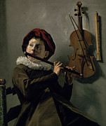 Ruff Painting Metal Prints - Boy Playing the Flute Metal Print by Judith Leyster