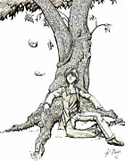 Young Man Drawings - Boy Under Tree by Kathie Mayo