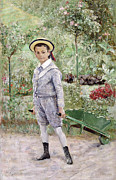 Sailor Hat Framed Prints - Boy with a Wheelbarrow Framed Print by Ernst Josephson