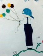Baseball Cap Painting Prints - Boy with balloons Print by Graciela Castro
