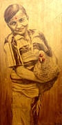 Hindi Painting Prints - Boy with Chicken Print by Joe Pagac