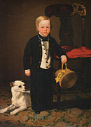 Charles Nahl Framed Prints - Boy With Dog Framed Print by Charles C Nahl