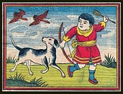 Red Robe Drawings Posters - Boy with dog ducks hunting. Bow and Arrow. Landscape. Matches. Match Book Antique Matchbox Cover. Poster by Pierpont Bay Archives