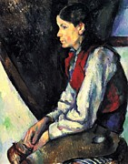 John Peter Metal Prints - Boy with Red Vest by Cezanne Metal Print by John Peter
