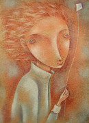 Wind Pastels Posters - Boy with the Kite Poster by Anna Petrova