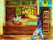 St.viateur Bagel Paintings - Boy With The Steinbergs Bag by Carole Spandau