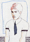 Portaits Drawings - Boy With Tie by Line Arion