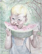 Watermelon Drawings Metal Prints - Boy with Watermelon Metal Print by Kathy Weidner